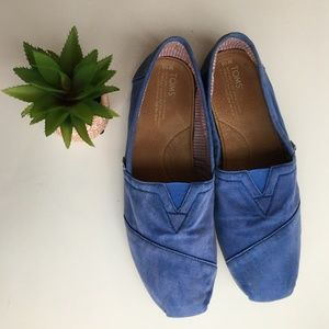 TOMS Classic Alpargata Blue Slip Ons • 10
